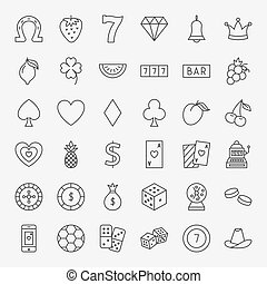 ligne, casino, ensemble, icônes