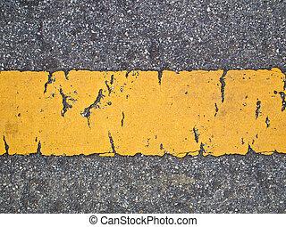 ligne cassée, route, jaune