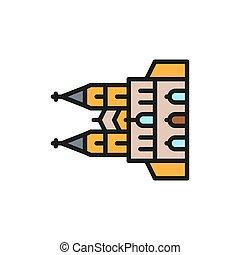 ligne, cathédrale, couleur, repère, icon., allemand, cologne, plat