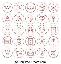 ligne, cercle, aimez coeur, icônes, ensemble