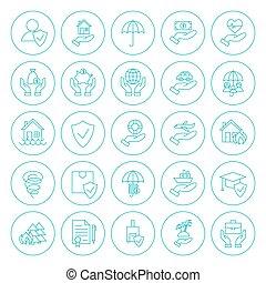 ligne, cercle, assurance, icônes, ensemble