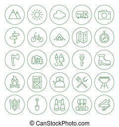 ligne, cercle, camping, icônes, ensemble
