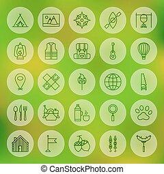 ligne, cercle, colonie vacances, icônes