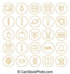 ligne, cercle, education, icônes, ensemble