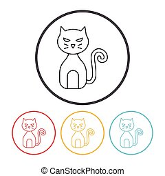 ligne, chat, halloween, icône