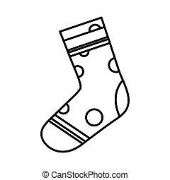 ligne, chaussette, style, pointu, conception, vecteur, icône