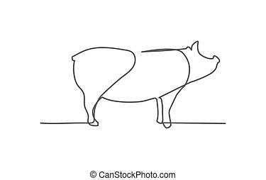 ligne, cochon, fond, blanc, une, dessin