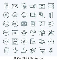 ligne, codage, icônes