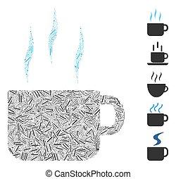 ligne, collage, icône, tasse thé, chaud