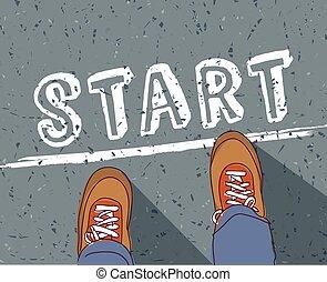 ligne, commencer, début, homme, manière, jeune