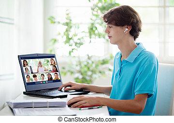 ligne, computer., gosses, learning., école, éloigné
