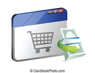 ligne, concept, business, achats