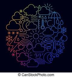 ligne, concept, temps, icône, cercle
