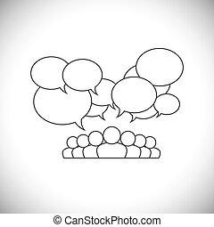 ligne, conception, vecteur, -, social, média, communication, à, gens