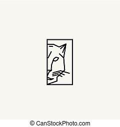 ligne, conceptions, logo, léopard, minimal