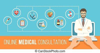 ligne, consultation, bannière, santé, plat, soin