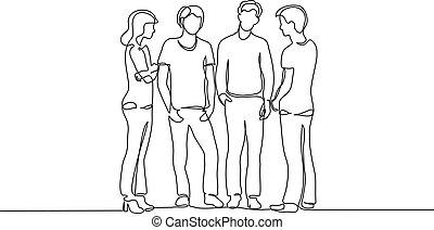 ligne, continu, parler, adolescent, drawing., une, groupe