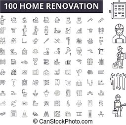 ligne, contour, ensemble, editable, icônes, rénovation, symboles, vecteur, noir, collection., maison, 100, signes, illustrations