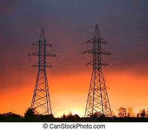 ligne, coucher soleil, puissance