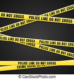 ligne, criminel, scène, jaune