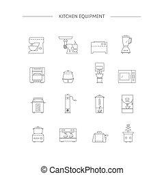ligne, cuisine, set., appareils, icône