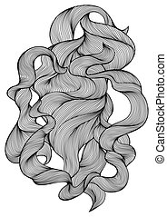ligne, curls., conception, vague