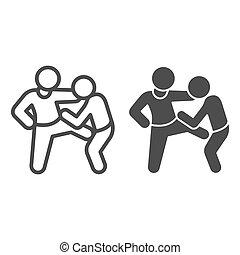 ligne, défendre, icône, concept, vecteur, défense, homme, aine, contour, elle-même, style., graphics., fond, icône, blanc, type, garçon, criminel, soi, battements, solide, attaques, bandit, signe