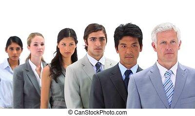 ligne, debout, équipe, business, sérieux
