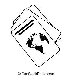 ligne, document, identification, mince, passeport