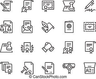 ligne, documents, légal, icônes