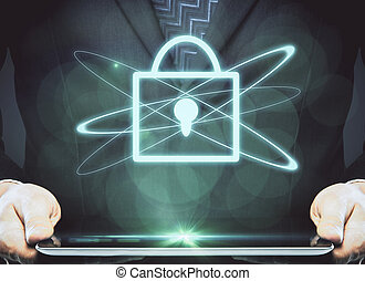 ligne, données, sécurité, concept