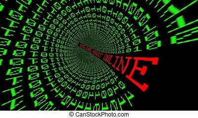 ligne, données, tunnel