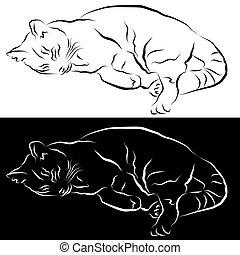 ligne, dormir, dessin, chat