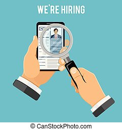 ligne, embauche, concept, emploi