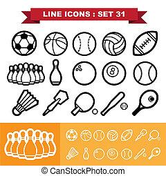 ligne, ensemble, 31, icônes