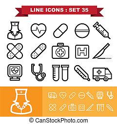 ligne, ensemble, 35, icônes