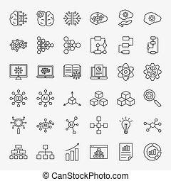 ligne, ensemble, artificiel, icônes, intelligence