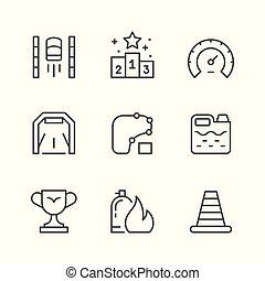 ligne, ensemble, courses, icônes