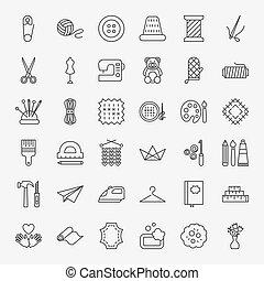 ligne, ensemble, fait main, icônes