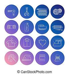 ligne, ensemble, handcraft, icônes