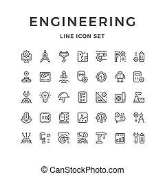 ligne, ensemble, ingénierie, icônes