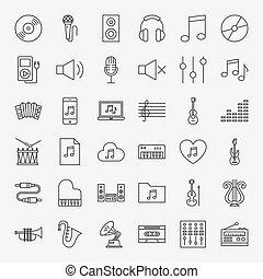 ligne, ensemble, musique, icônes