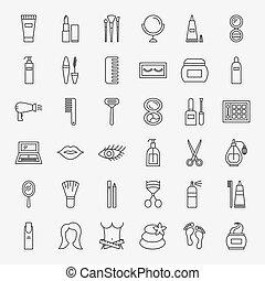 ligne, ensemble, produits de beauté, icônes