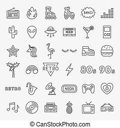 ligne, ensemble, retro, icônes