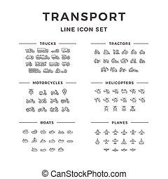 ligne, ensemble, transport, icônes