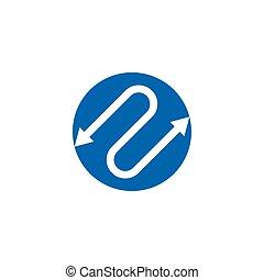 ligne, espace négatif, vecteur, flèche, cercle, logo