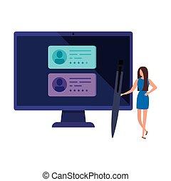 ligne, femme affaires, informatique, vote