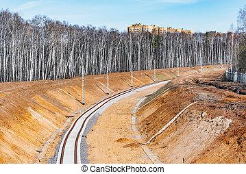 ligne., ferroviaire, site construction, nouveau