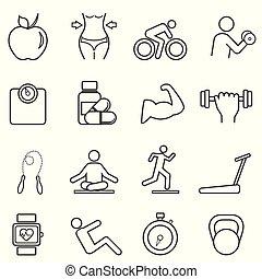 ligne, fitness, régime, icônes