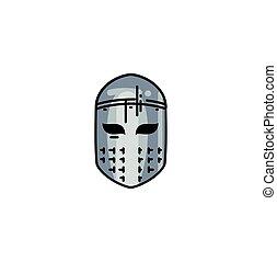 ligne fixe, casque, moyen-âge, icône